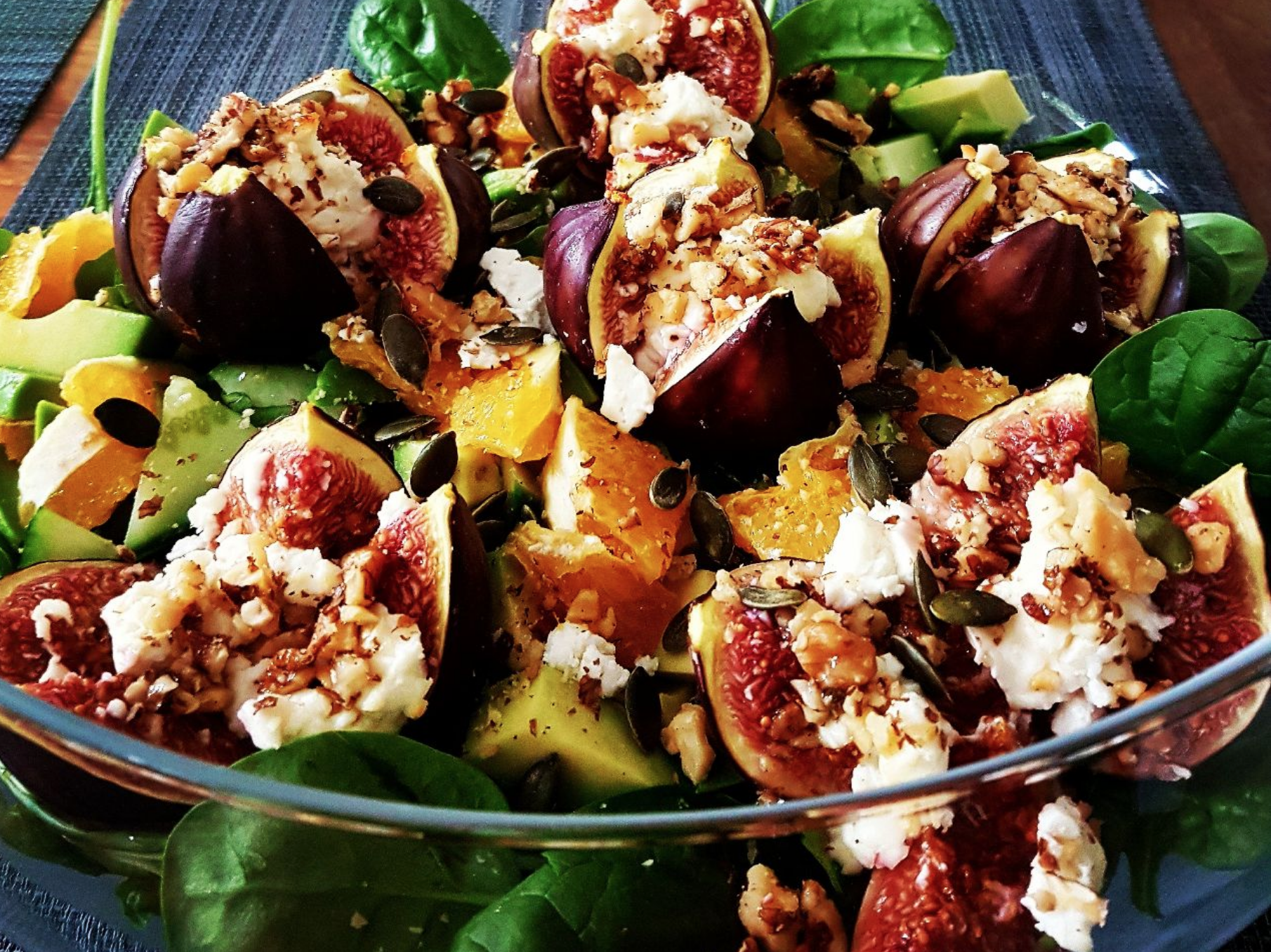 Roasted fig, feta and walnut salad with fresh orange and avocado (v)